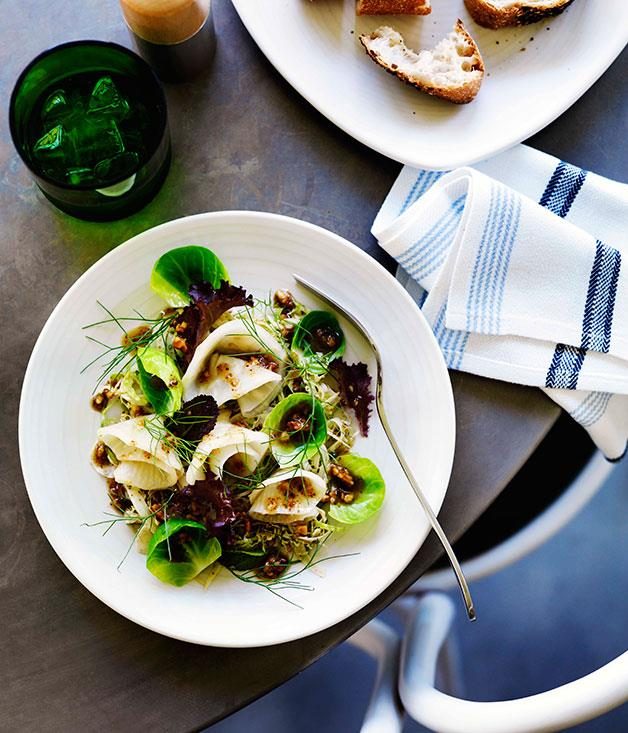 """[**Celeriac and shaved fennel salad with crushed walnut dressing**](https://www.gourmettraveller.com.au/recipes/browse-all/celeriac-and-shaved-fennel-salad-with-crushed-walnut-dressing-11426