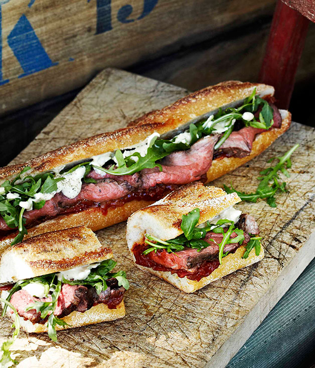 Rare Roast Beef Baguettes With Roast Tomato And Currant