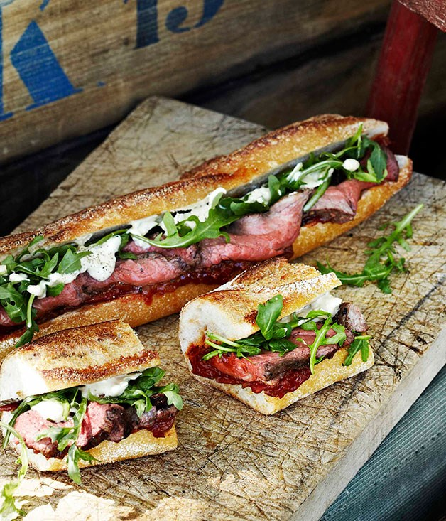 "[**Rare roast beef baguettes with roast tomato and currant chutney**](https://www.gourmettraveller.com.au/recipes/browse-all/rare-roast-beef-baguettes-with-roast-tomato-and-currant-chutney-11434|target=""_blank"")<br> Nothing says picnic like a baguette, and these beauties can be made a couple of hours in advance and transported uncut."