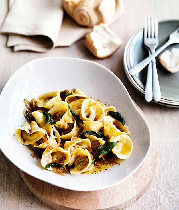 Roast pumpkin tortellini with amaretti, sage and onion