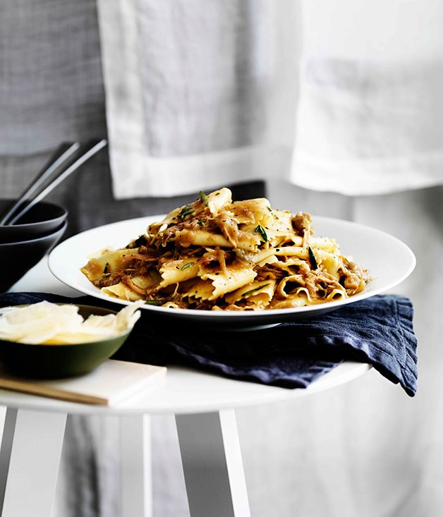 Pappardelle with braised rabbit, onion and rosemary