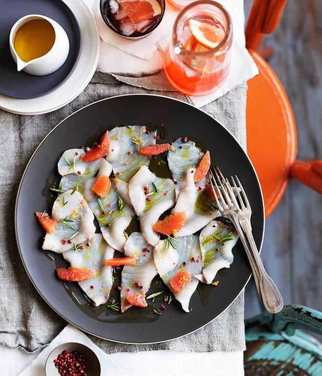 Swordfish carpaccio with pink grapefruit and pink peppercorns