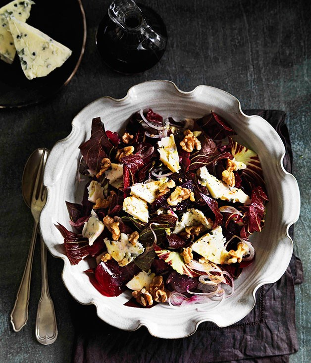 "[**Beetroot, radicchio, Gorgonzola and toasted walnut salad**](https://www.gourmettraveller.com.au/recipes/browse-all/beetroot-radicchio-gorgonzola-and-toasted-walnut-salad-11482|target=""_blank"") <br><br> This gorgeous crimson salad is all about the hearty beetroot – raw and pickled."