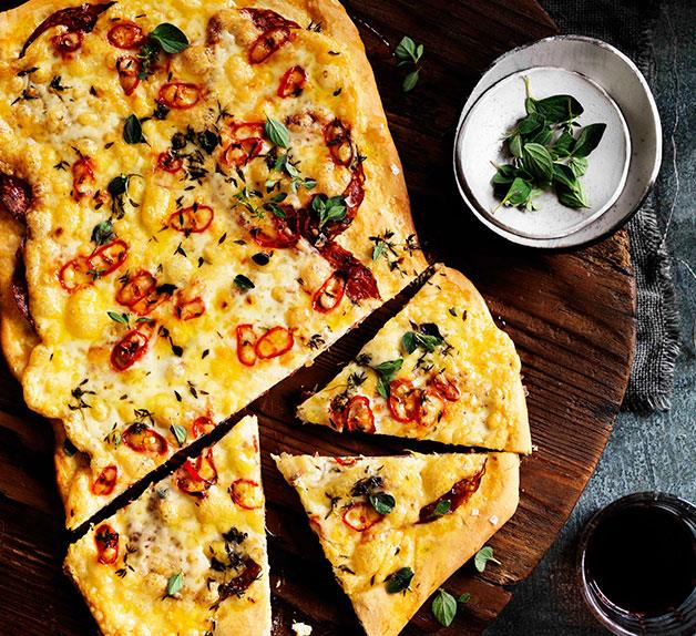 Four-cheese and sopressa pizza with chilli