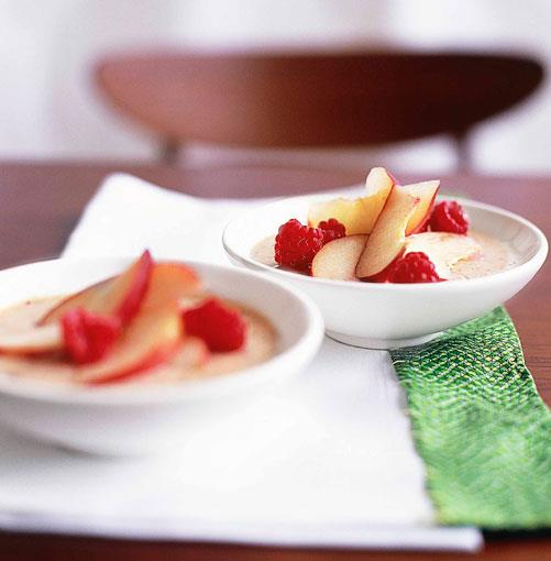 **White peach mousse with white peach and raspberry salad** **White peach mousse with white peach and raspberry salad**    [View Recipe](http://gourmettraveller.com.au/white_peach_mousse_with_white_peach_and_raspberry_salad.htm)     PHOTOGRAPH **CHRIS COURT**