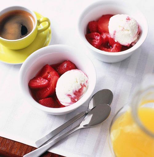 **Plum-and-strawberry ripple frozen yoghurt** **Plum-and-strawberry ripple frozen yoghurt**    [View Recipe](http://gourmettraveller.com.au/plumandstrawberry_ripple_frozen_yoghurt.htm)     PHOTOGRAPH **CHRIS COURT**