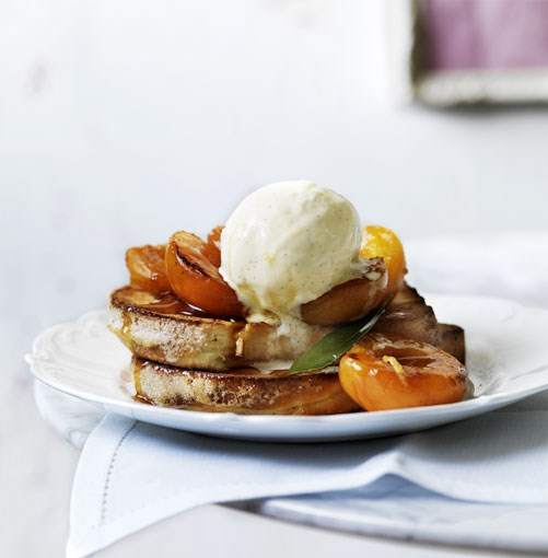 **Verjuice apricots with brioche and vanilla ice-cream** **Verjuice apricots with brioche and vanilla ice-cream**    [View Recipe](http://gourmettraveller.com.au/verjuice_apricots_with_brioche_and_vanilla_icecream.htm)     PHOTOGRAPH **WILLIAM MEPPEM**