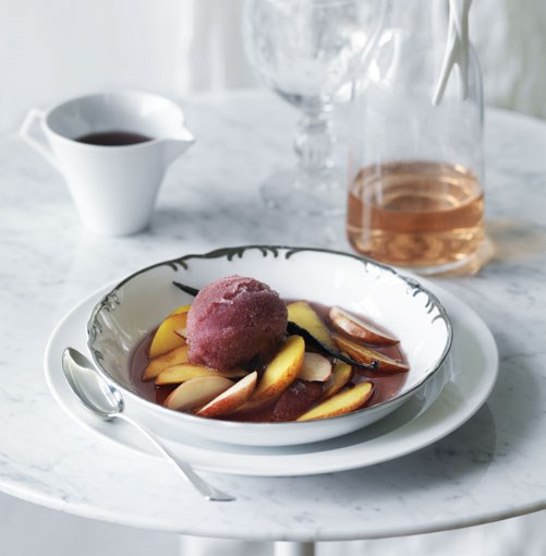 **Pinot and vanilla sorbet with peach salad** **Pinot and vanilla sorbet with peach salad**    [View Recipe](http://gourmettraveller.com.au/pinot_and_vanilla_sorbet_with_peach_salad.htm)     PHOTOGRAPH **WILLIAM MEPPEM**