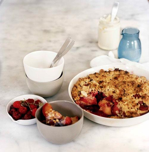 **Peach, raspberry and almond crumble** **Peach, raspberry and almond crumble**    [View Recipe](http://gourmettraveller.com.au/peach-raspberry-and-almond-crumble.htm)     PHOTOGRAPH **SHARYN CAIRNS**