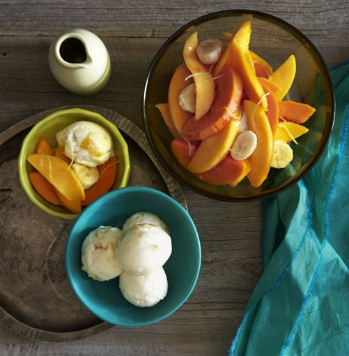 **Mango yoghurt sorbet with tropical fruit** **Mango yoghurt sorbet with tropical fruit**    [View Recipe](http://gourmettraveller.com.au/mango_yoghurt_sorbet_with_tropical_fruit.htm)     PHOTOGRAPH **CHRIS CHEN**