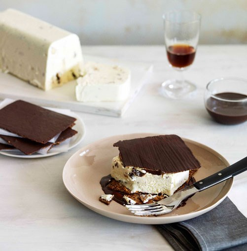 "**Chocolate Florentine wafer and honey semifreddo ""tramezzino""** **Chocolate Florentine wafer and honey semifreddo ""tramezzino""**    [View Recipe](http://gourmettraveller.com.au/chocolate-florentine-wafer-and-honey-semifreddo-tramezzino.htm)     PHOTOGRAPH **CHRIS CHEN**"
