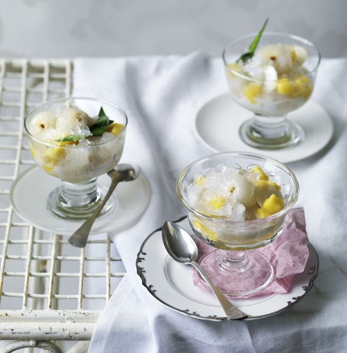 **Lychee and mango ice** **Lychee and mango ice**    [View Recipe](http://www.gourmettraveller.com.au/lychee_and_mango_ice.htm)     PHOTOGRAPH **WILLIAM MEPPEM**