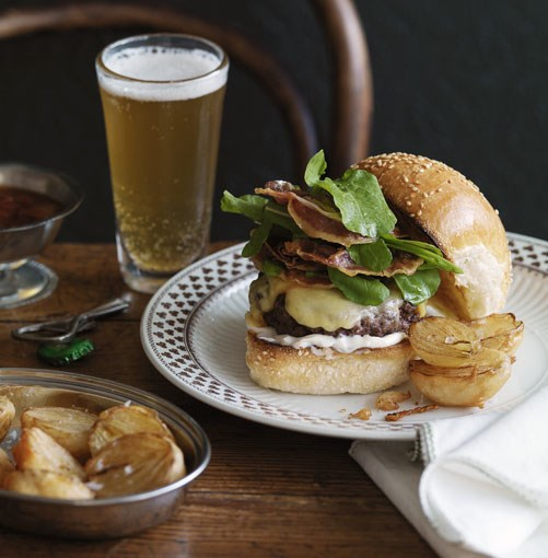 **Cheeseburger with beer-battered onion halves** **Cheeseburger with beer-battered onion halves**    [View Recipe](http://gourmettraveller.com.au/cheeseburger-with-beer-battered-onion-halves.htm)     PHOTOGRAPH **WILLIAM MEPPEM**