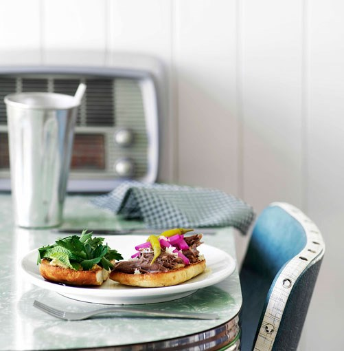 **Slow-roasted lamb burgers** **Slow-roasted lamb burgers**    [View Recipe](http://gourmettraveller.com.au/slowroasted_lamb_burgers.htm)     PHOTOGRAPH **WILLIAM MEPPEM**