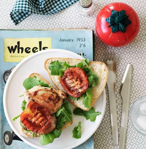 **Chicken, garlic and tomato burgers** **Chicken, garlic and tomato burgers**    [View Recipe](http://gourmettraveller.com.au/chicken_garlic_and_tomato_burgers.htm)     PHOTOGRAPH **WILLIAM MEPPEM**