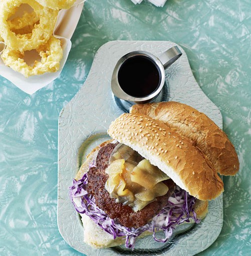 **Pork burgers with pear relish and onion rings** **Pork burgers with pear relish and onion rings**    [View Recipe](http://gourmettraveller.com.au/pork_burgers_with_pear_relish_and_onion_rings.htm)     PHOTOGRAPH **WILLIAM MEPPEM**