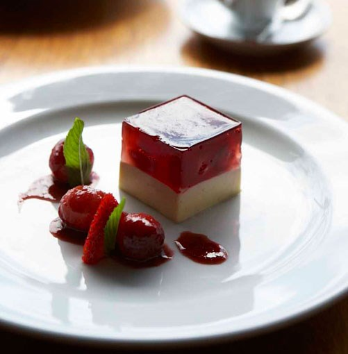 **** Panna cotta with strawberry jelly at Cupitt's Winery, Milton.