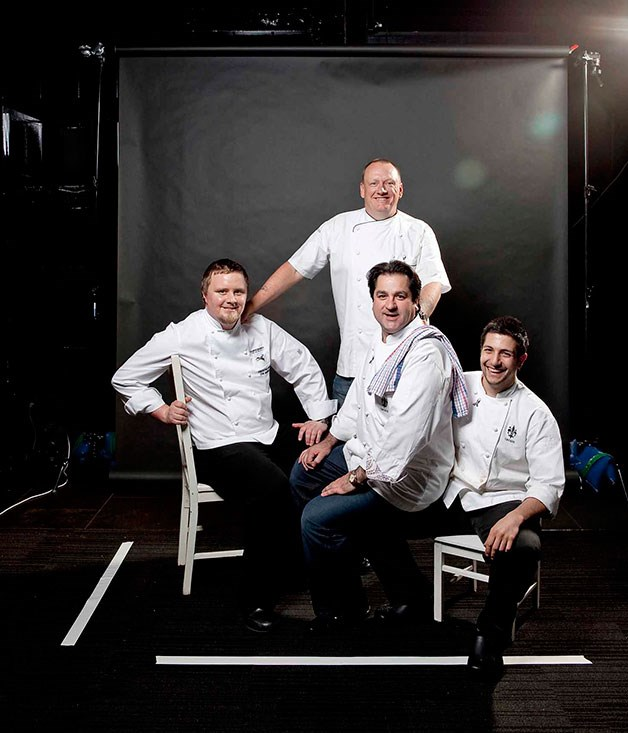 **** Left to right: chefs Dan Shanks, Ian Curley (standing), Guy Grossi and Matteo Tine.