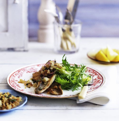 **Whiting fillets with lemon and capers** ...and these **whiting fillets with lemon and capers**.    [View Recipe](http://gourmettraveller.com.au/panfried_whiting_with_lemon_and_caper_crumbs.htm)     PHOTOGRAPH **BEN DEARNLEY**