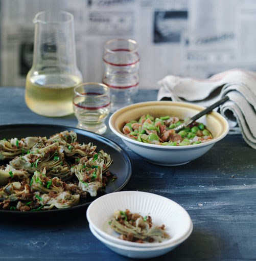 **Sauteed artichoke hearts and broad beans with jamon** **Sautéed artichoke hearts**    [View Recipe](http://gourmettraveller.com.au/sauted_artichoke_hearts.htm)     **Broad beans with jamón serrano**    [](http://gourmettraveller.com.au/broad_beans_with_jamn_serrano.htm)   PHOTOGRAPH **WILLIAM MEPPEM**