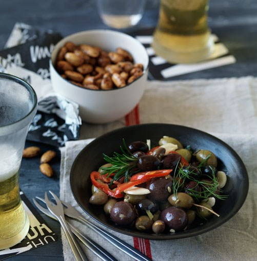 **Spiced almonds and marinated olives** **Spiced almonds**    [View Recipe](http://gourmettraveller.com.au/spiced_almonds.htm)     **Marinated olives**    [View Recipe](http://gourmettraveller.com.au/marinated_olives.htm)     PHOTOGRAPH **WILLIAM MEPPEM**