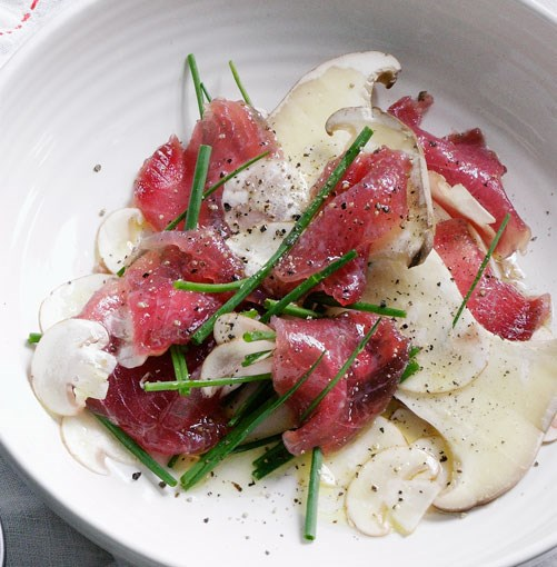 **Cured tuna with mushrooms** **Cured tuna with mushrooms**    [View Recipe](http://gourmettraveller.com.au/cured_tuna_with_mushrooms.htm)     PHOTOGRAPH **BEN DEARNLEY**