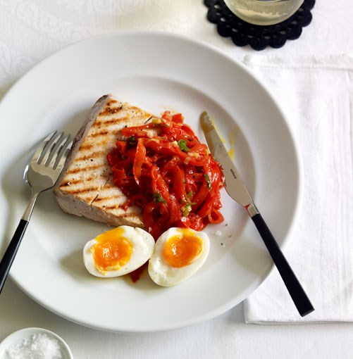 **Chargrilled swordfish, capsicum salad and soft-boiled egg** **Chargrilled swordfish, capsicum salad and soft-boiled egg**    [View Recipe](http://gourmettraveller.com.au/chargrilled_swordfish_capsicum_salad_and_softboiled_egg.htm)     PHOTOGRAPH **CHRIS CHEN**