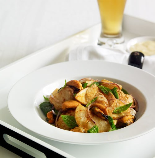 **Mussel, fried potato, paprika and mint salad** **Mussel, fried potato, paprika and mint salad**    [View Recipe](http://gourmettraveller.com.au/mussel_fried_potato_paprika_and_mint_salad.htm)     PHOTOGRAPH **CHRIS CHEN**