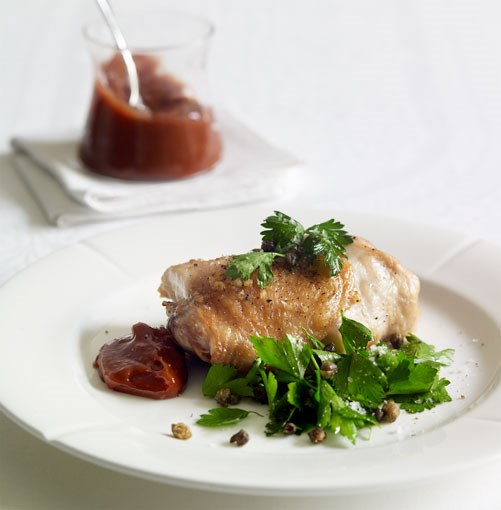 **Roast chicken with quince alioli, parsley and crisp caper salad** **Roast chicken with quince alioli, parsley and crisp caper salad**    [View Recipe](http://gourmettraveller.com.au/roast_chicken_with_quince_alioli_parsley_and_crisp_caper_salad.htm)     PHOTOGRAPH **CHRIS CHEN**