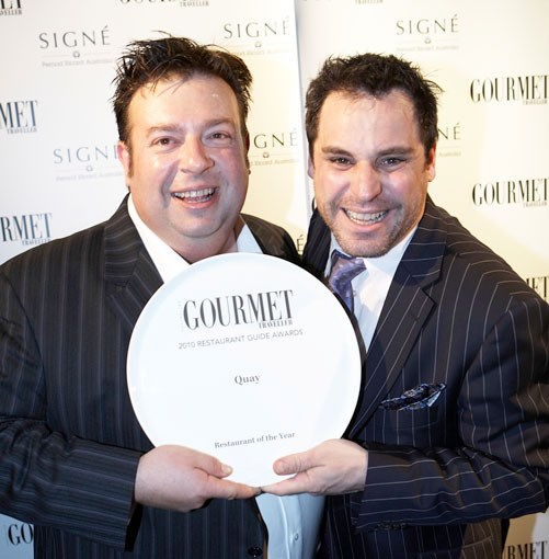 **Peter Gilmore and John Fink, Quay restaurant, Sydney** Quay restaurant's Peter Gilmore and John Fink with their award for Restaurant of the Year.