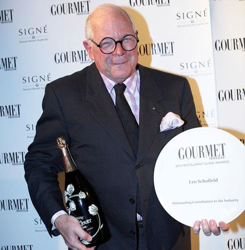 **Leo Schofield** The award for the Outstanding Contribution to the Industry went to GT editor-at-large Leo Schofield for his restaurant criticism.