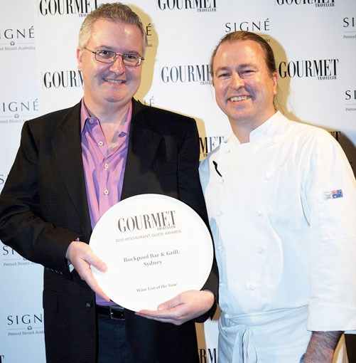 **David Doyle and Neil Perry, Rockpool Bar & Grill Sydney** David Doyle and Neil Perry's Rockpool Bar & Grill Sydney took home the plates for Wine List of the Year and New Restaurant of the Year.
