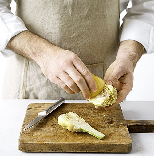 **** If the recipe calls for halving, halve artichoke and rub cut side with lemon.