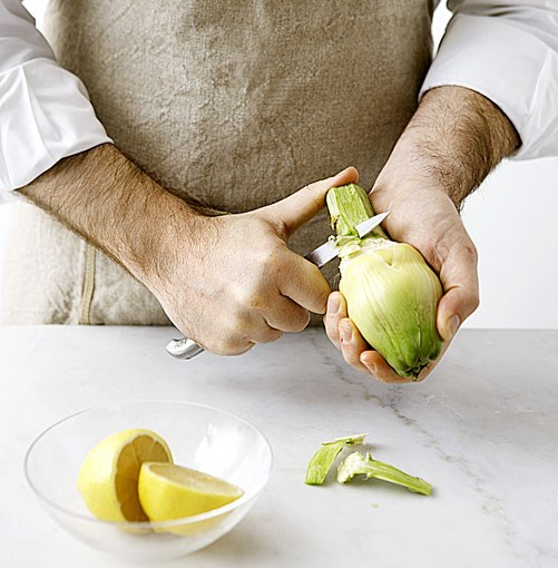 **** Peel green exterior of stem until you reach pale inner flesh, discard fibrous outer flesh, then using a vegetable peeler, smooth stem and remove remaining bitter green flesh from the artichoke stem and base of heart. Rub flesh with lemon to prevent from oxidizing and discoloring.