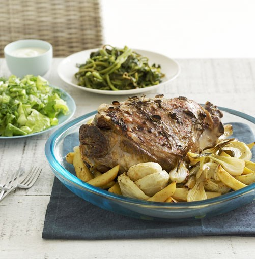 **Greek-style roast lamb, artichokes and potatoes** Greek-style roast lamb, artichokes and potatoes  [View Recipe](http://www.gourmettraveller.com.au/roast-lamb-artichokes-and-potatoes.htm)     PHOTOGRAPH CHRIS CHEN