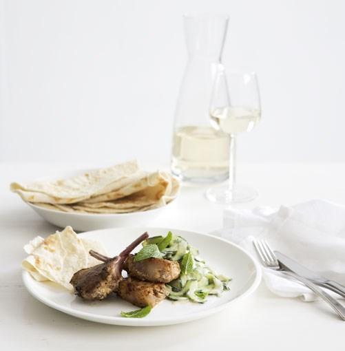 **Spiced-yoghurt lamb cutlets with cucumber and mint salad** **Spiced-yoghurt lamb cutlets with cucumber and mint salad**    [View Recipe](http://www.gourmettraveller.com.au/spicedyoghurt_lamb_cutlets_with_cucumber_and_mint_salad.htm)     PHOTOGRAPH **AMANDA MCLAUCHLAN**