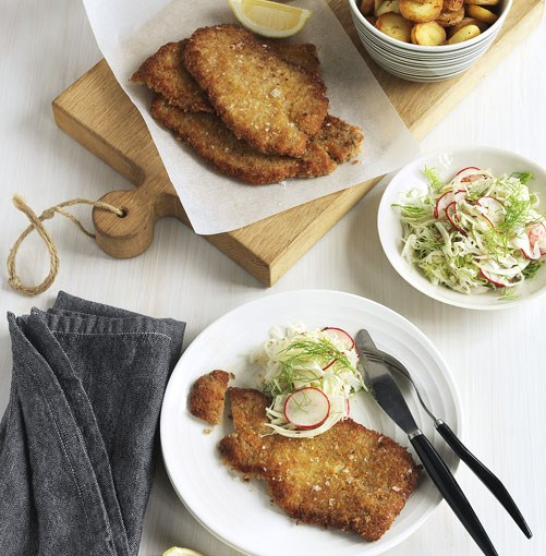 **Wiener schnitzel** Wiener schnitzel    [View Recipe](http://www.gourmettraveller.com.au/wiener-schnitzel.htm)     PHOTOGRAPH JASON LOUCAS      For more hearty pub-style recipes, check out our [pub grub slideshow.](http://www.gourmettraveller.com.au/pub-grub-recipes.htm)
