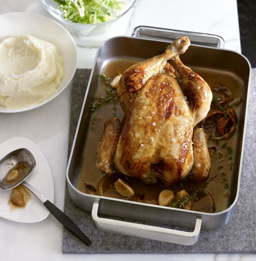 **Garlic and thyme chicken with mash** **Garlic and thyme chicken with mash**    [View Recipe](http://www.gourmettraveller.com.au/garlic-and-thyme-chicken-with-mash.htm)     PHOTOGRAPH **CHRIS CHEN**