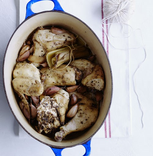 """**Chicken with 40 cloves of garlic** **Chicken with 40 cloves of garlic**   """"The name almost says it all, and yet you might find yourself surprised by the sweet mellowness of the finished dish."""" - Pat Nourse, GT features editor    [View Recipe](http://gourmettraveller.com.au/chicken_with_40_cloves_of_garlic.htm)     PHOTOGRAPH **BEN DEARNLEY**"""
