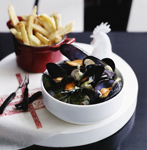"**Moules à la Normande** **Moules à la Normande**   ""Roll up your sleeves, grab a crusty baguette and a generous napkin and tuck into this moreish classic."" - Emma Knowles, GT food director    [View Recipe](http://www.gourmettraveller.com.au/moules__la_normande.htm)     PHOTOGRAPH **BEN DEARNLEY**"