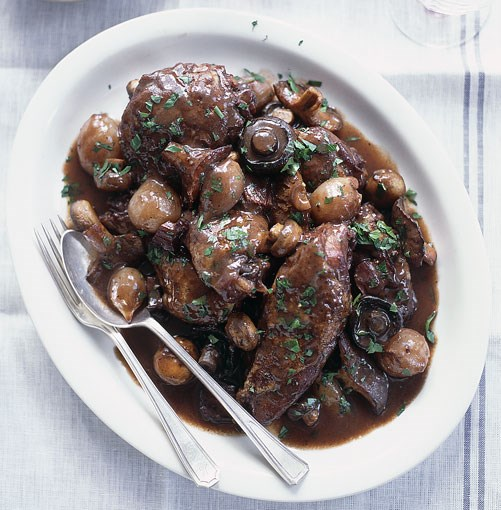 "**Coq au vin** **Coq au vin**   ""After a scorching four days spent on the beach in Nice, a storm arrived and sent the temperature plummeting on our last night. We were in the mood for comfort food, and the winey, meaty goodness of coq au vin was a perfect final meal in France.""    [View Recipe](http://www.gourmettraveller.com.au/coq_au_vin_and_beaujolais.htm)     PHOTOGRAPH **CON POULOS**"