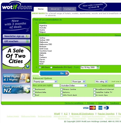 **wotif.com** **READERS' CHOICE AWARDS: FAVOURITE TRAVEL WEBSITE**   Winner: wotif.com   Runners-up: tripadvisor.com; lonelyplanet.com   Australians spend more than a billion dollars each year booking hotels online and about 40% of those bookings are made at wotif.com. Pioneering Queensland businessman Graeme Wood co-founded the site in 2000; today it sells more than 11,000 properties in 45 countries, from Myanmar to the Czech Republic. The idea and its execution are simple: get major hotel chains (more than 50, at last count) to offload unsold rooms at a discount, display the last-minute deals on an online matrix so users can instantly compare hotels and prices, and offer 24-hour customer service backup. It's like an accommodation stock market, with demand driving the bottom line and bargains to be had. It is by far the most popular hotel booking site in Australasia, and now has branches in the UK, Canada, Malaysia and Singapore.   **[www.wotif.com](http://www.wotif.com)**