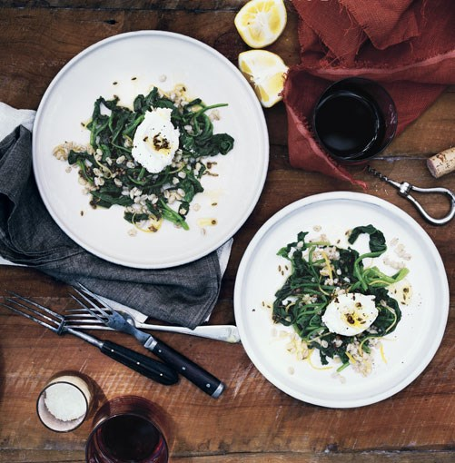 **Spinach and pearl barley salad with goat's curd and spiced oil** **[Spinach and pearl barley salad with goat's curd and spiced oil](http://www.gourmettraveller.com.au/spinach-and-pearl-barley-salad-with-goats-curd-and-spiced-oil.htm)**    [View Recipe](http://www.gourmettraveller.com.au/spinach-and-pearl-barley-salad-with-goats-curd-and-spiced-oil.htm)     PHOTOGRAPH **SHARYN CAIRNS**
