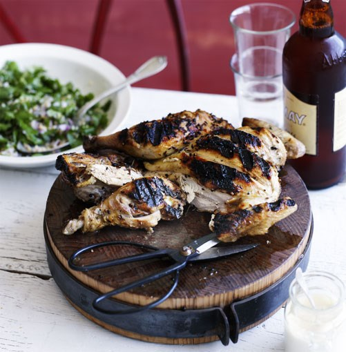 **Spiced chicken with tabbouleh** **[Spiced chicken with tabbouleh](http://www.gourmettraveller.com.au/spiced_chicken_with_tabbouleh.htm)**   This recipe for chicken and spice and all things nice is inspired by Lebanese shops that grill whole chickens and serve them with tabbouleh and garlic mayonnaise.      PHOTOGRAPH **BEN DEARNLEY**      [](http://www.gourmettraveller.com.au/spiced_chicken_with_tabbouleh.htm)