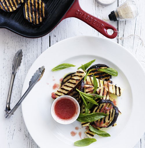 **Grilled eggplant and haloumi with tomato vinaigrette** **[Grilled eggplant and haloumi with tomato vinaigrette](http://www.gourmettraveller.com.au/grilled_eggplant_and_haloumi_with_tomato_vinaigrette.htm)**   This flavour combination is the essence of summer.   PHOTOGRAPH **BEN DEARNLEY**    [View Recipe](http://www.gourmettraveller.com.au/grilled_eggplant_and_haloumi_with_tomato_vinaigrette.htm)