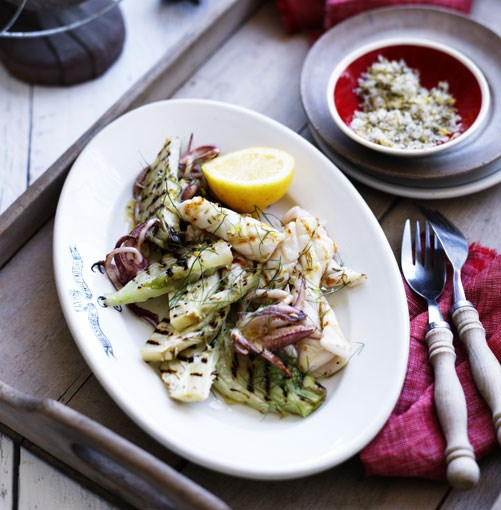 **Grilled calamari with fennel and lemon salt** **[Grilled calamari with fennel and lemon salt](http://www.gourmettraveller.com.au/grilled_calamari_with_fennel_and_lemon_salt.htm)**   This is the ultimate summer barbecue dish that tastes simply wonderful washed down with a cold one. You can serve this as a starter or as part of a larger feast.      PHOTOGRAPH **BEN DEARNLEY**      [](http://www.gourmettraveller.com.au/grilled_calamari_with_fennel_and_lemon_salt.htm)