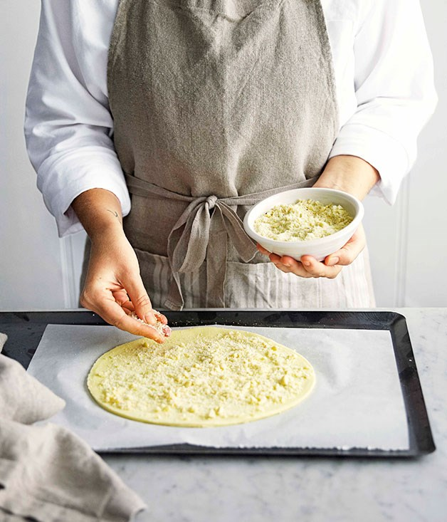 **Step 3** Place pastry on an oven tray lined with baking paper, scatter with almond and refrigerate until required.