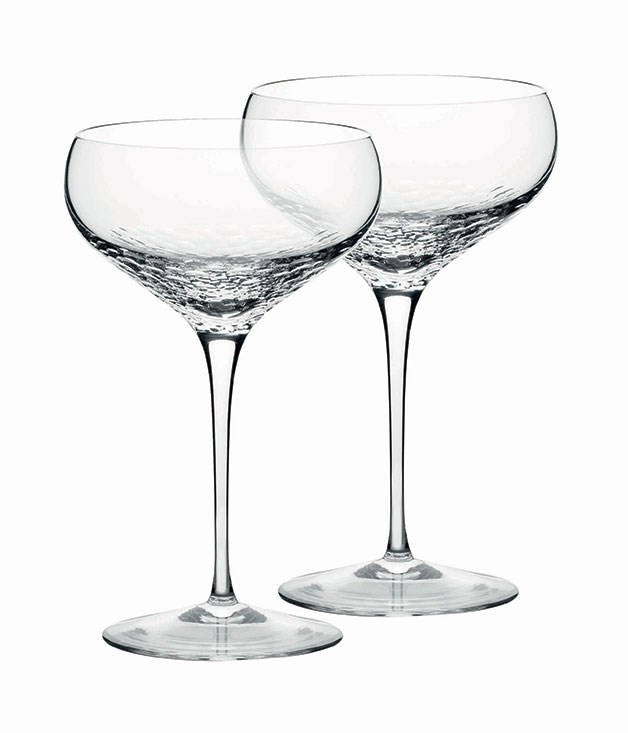 "**** Champagne saucers. Practical? No. Fabulous? Unquestionably. Vera Wang's ""Sequin"" crystal stemware for [Wedgwood](http://wedgwood.com.au/) gives you the choice of flutes, saucers or goblets, all $99.95 a pair."