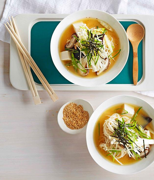"[Miso broth with tofu and mushrooms](https://www.gourmettraveller.com.au/recipes/fast-recipes/miso-broth-with-tofu-and-mushrooms-13361|target=""_blank"")"