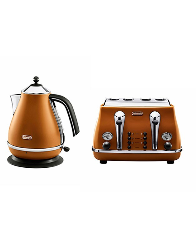 ****  [DeLonghi](http://delonghi.com.au/)'s Icona Vintage range of toasters ($189 for the four-slice model), kettles ($149) and coffee machines ($299) takes 1950s Italy as the inspiration for its curves and palette, which includes the tan-leather models pictured here.